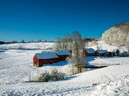 barns winter: Vermont Winter Farm Landscape