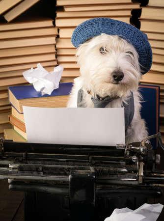 person writing: Writer Dog