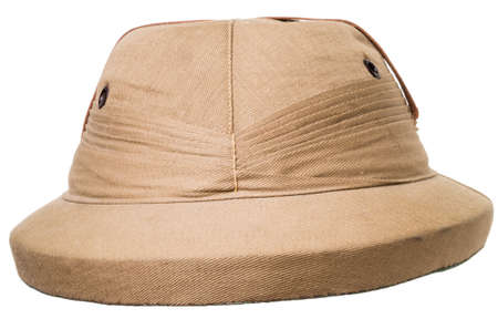 pith: Adventurer Pith Helmet isolated over white background Stock Photo