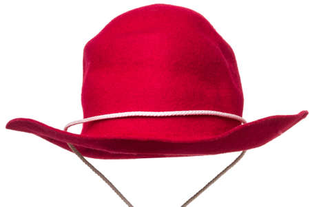 Red Felt Cowboy Hat isolated over white background