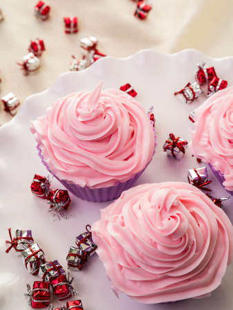 Pink Frosted Cupcakes photo