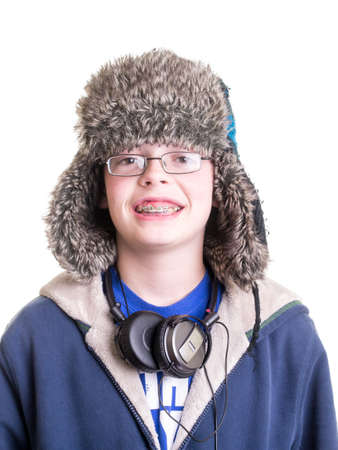 Teen Boy with winter hat and headphones Stock fotó