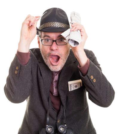 Excited gambler man at horse races Stock fotó - 16693662
