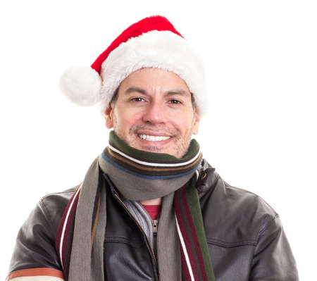 Happy Joyous Man in Christmas Santa Claus Hat Stock fotó