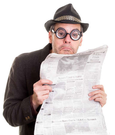 Funny man reading the newspaper photo