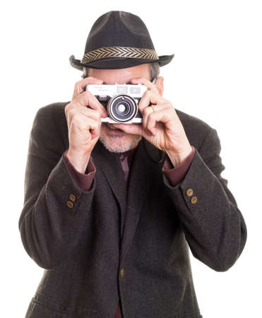 Funny man taking a photograph with camera