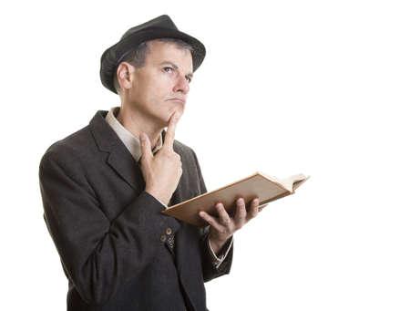 Man reading and thinking