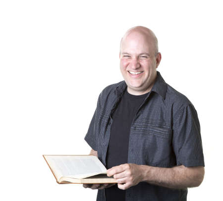 reader: Happy smiling man with book Stock Photo