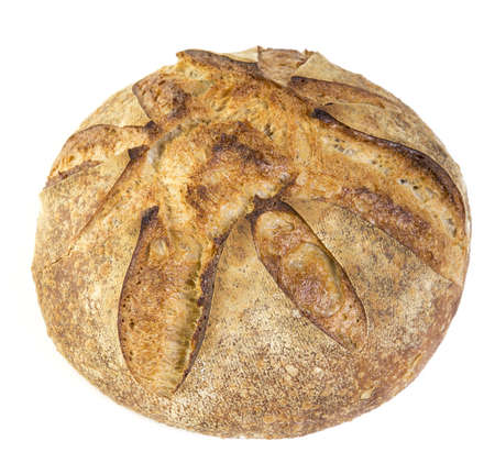 artisan: Fresh baked crusty artisan bread over white background
