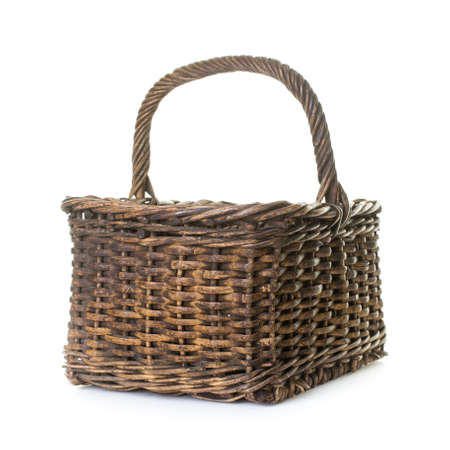 A old woven basket isolated over white background. Stock fotó - 32613034