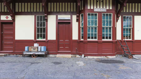 A wide view of an old train station.