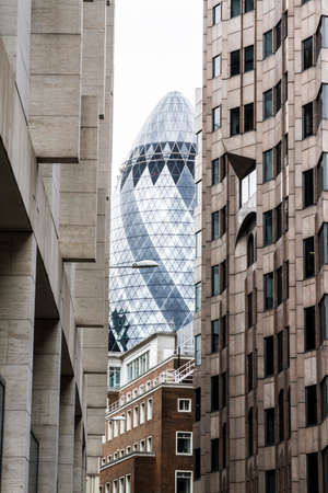 View of the Gherkin from a street in London
