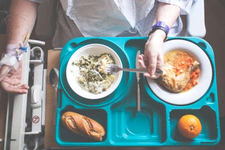 tray with hospital food near the window Archivio Fotografico