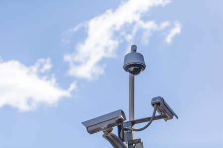 security cams at the sun and blue sky