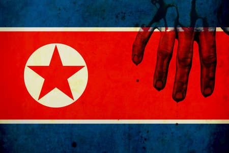 Old grunge flag of North Korea. Armory. War. Danger. Army. missiles. Blood on his hands