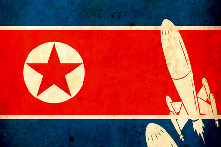 Old grunge flag of North Korea. Armory. War. Danger. Army. missiles. Stock Photo
