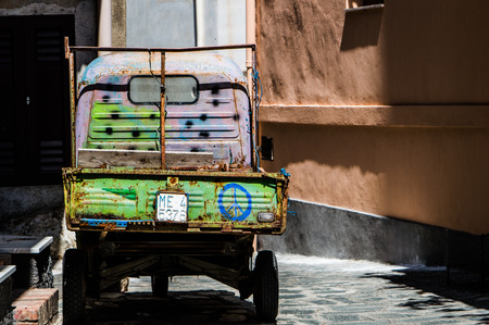 vibrancy: The vibrancy of the colors of an old pickup truck