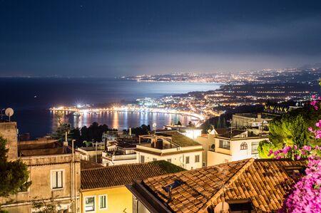 taormina: Night view of the Bay of Taormina