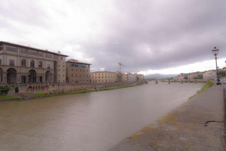 arno: Panorama over the River Arno in Florence, Italy Stock Photo