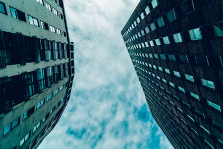 periphery: Bottom view of two buildings. Photographed in Bristol