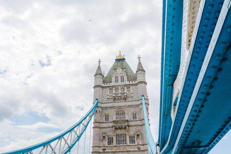 periphery: Tower Bridge in London with a cloudy sky Stock Photo