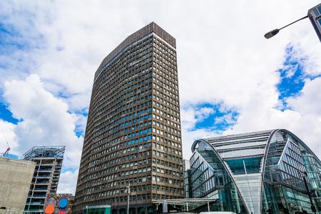 periphery: London street with modern buildings Stock Photo
