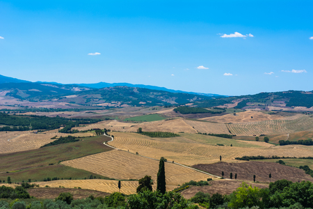 val dorcia: Panorama of the Val DOrcia in Tuscany Stock Photo