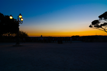 panorama of Rome at sunset from the terrace of Villa Borghese Stock Photo