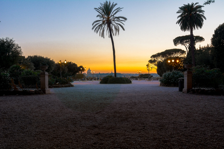 beauty fountain: panorama of Rome at sunset from the terrace of Villa Borghese Stock Photo