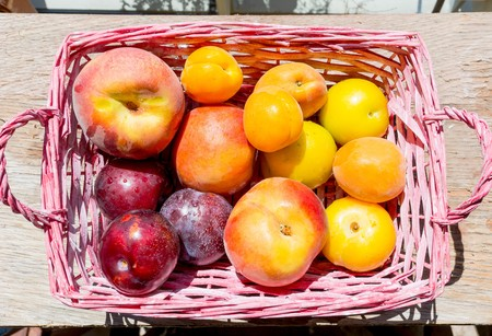 Basket full of fruit with the top view