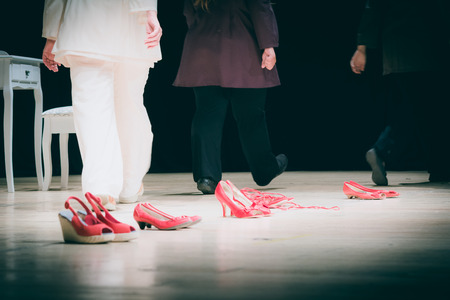 Red Shoes On A Stage The Symbol Of Violence Against Women Stock