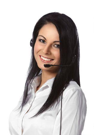 hot secretary: Customer Service Operator-Isolated over a White Background