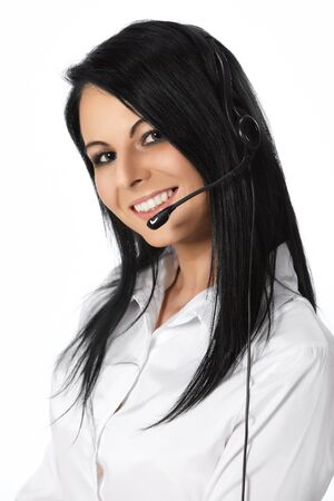 personal service: Customer Service Operator-Isolated over a White Background