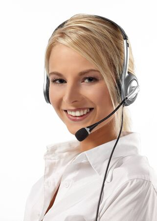 headset woman: Customer Service Operator-Isolated over a White Background