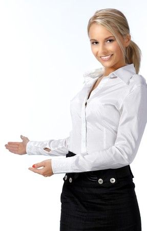 Businesswoman with her arm out in a welcoming gesture, isolated on white background photo