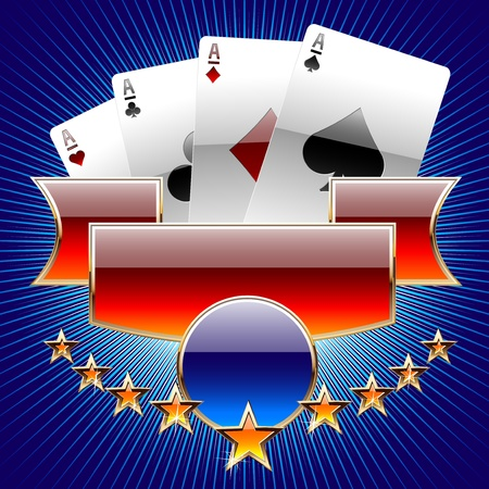 cards poker: Abstract illustration of gambling cards Illustration