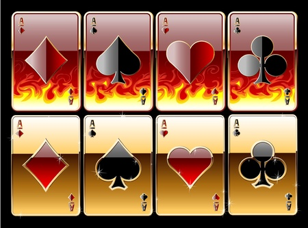 gold heart: Stylised illustration of golgen in fire playing casino cards