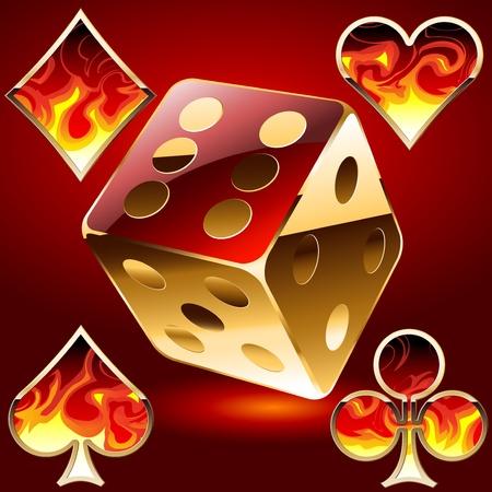 Illustration of a gambling symbols in fire Vector