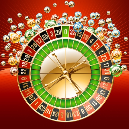 luck wheel: Golden an shiny casino chips with roulette wheel illustration