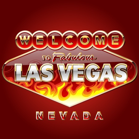 vegas sign: Golden an shiny las vegas sign birning in fire illustration