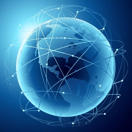 Illustration einer modernen Erde in einem Netz von Satelliten
