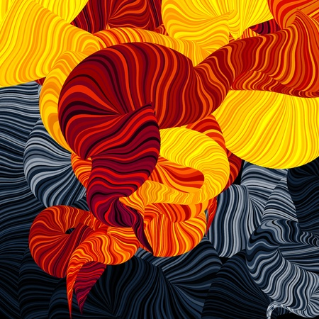 curving: Abstract illustration of wonder smoke. Curving lines Illustration