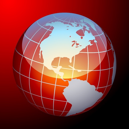 Glossy image of an earth. Red and  white Vector