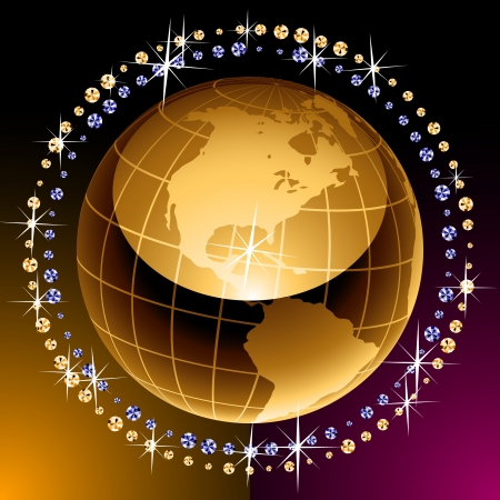 Golden image of an earth with diamonds Vector
