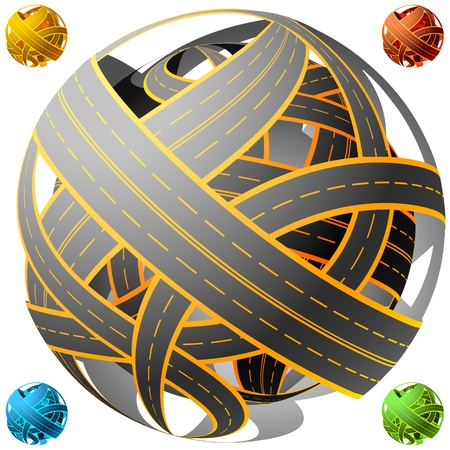 complication: illustration of tangled road skein. Traffic jam. Spherical Illustration