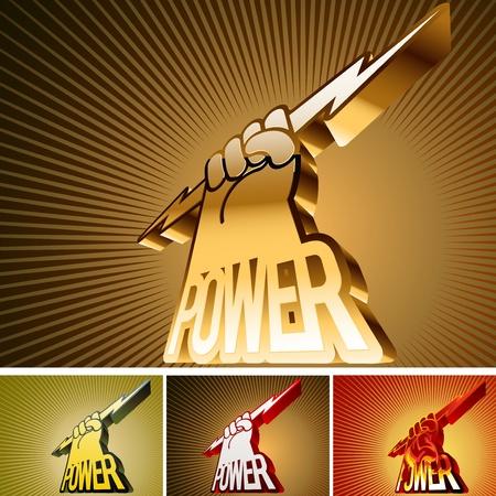rayo electrico: Ilustración de un signo abstracto en forma de armas y la palabra de poder