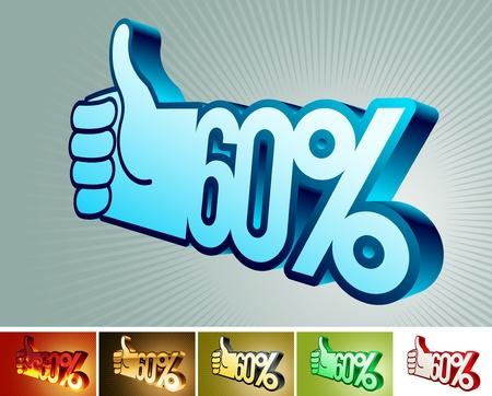 Symbol of discount or bonus on stylized hand  60% Vector