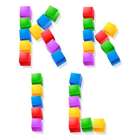 children s: Alphabet of children s blocks  Vector illustration of funny cube font   Letters  k l