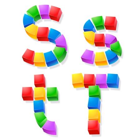 Vector children: Bảng chữ cái của các khối con s Vector minh họa vui phông chữ cube Letters st