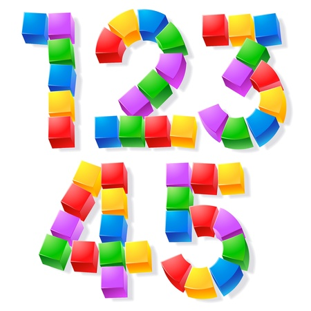 Alphabet of children s blocks  Vector illustration of funny cube font Stok Fotoğraf - 17292244